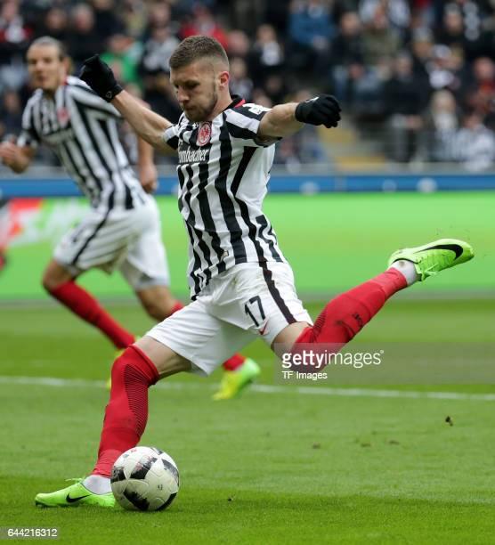 Ante Rebic of Frankfurt controls the ball during the Bundesliga match between Eintracht Frankfurt and FC Ingolstadt 04 at CommerzbankArena on...