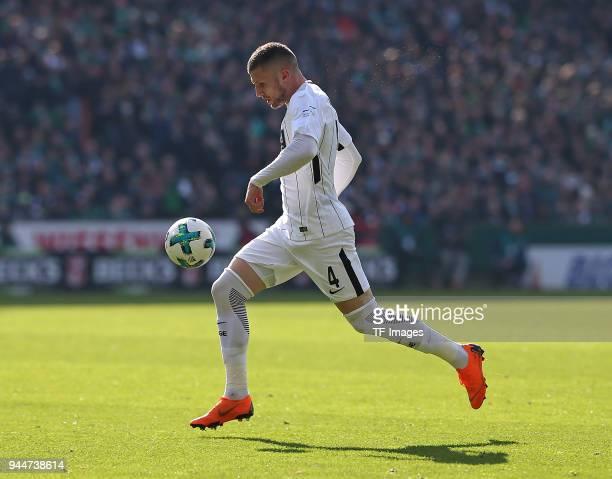 Ante Rebic of Frankfurt controls the ball during the Bundesliga match between Werder Bremen and Eintracht Frankfurt at Weserstadion on April 01 2018...