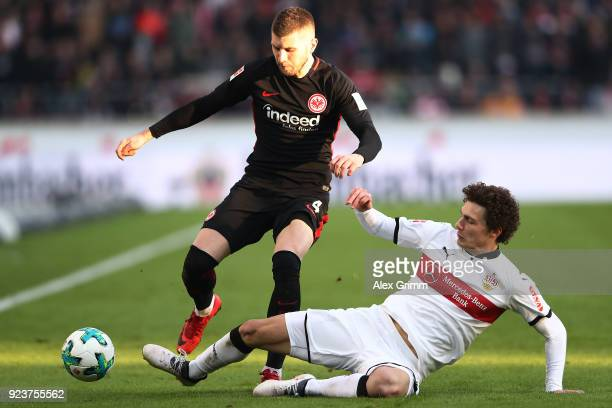 Ante Rebic of Frankfurt fights for the ball with Benjamin Pavard of Stuttgart during the Bundesliga match between VfB Stuttgart and Eintracht...