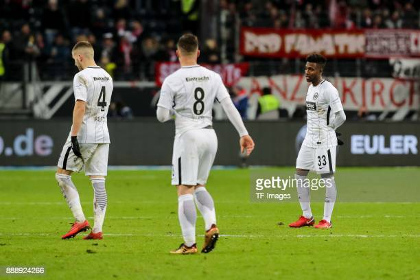 Ante Rebic of Frankfurt Luka Jovic of Frankfurt and Taleb Tawatha of Frankfurt look dejected after the Bundesliga match between Eintracht Frankfurt...