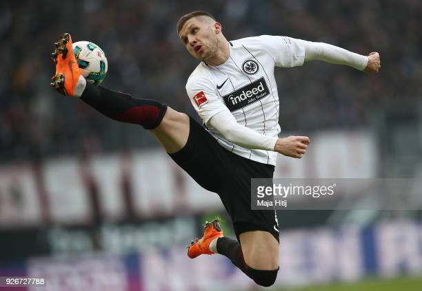 Ante Rebic of Frankfurt plays the ball during the Bundesliga match between Eintracht Frankfurt and Hannover 96 at CommerzbankArena on March 3 2018 in...