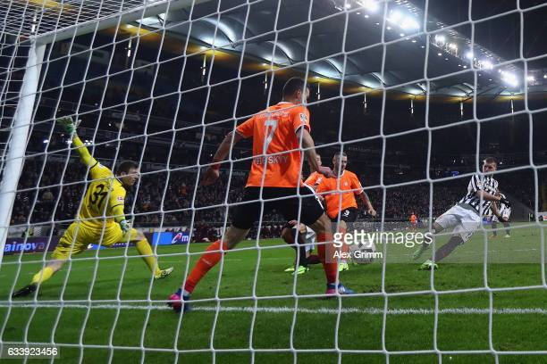 Ante Rebic of Frankfurt scores his team's second goal during the Bundesliga match between Eintracht Frankfurt and SV Darmstadt 98 at CommerzbankArena...