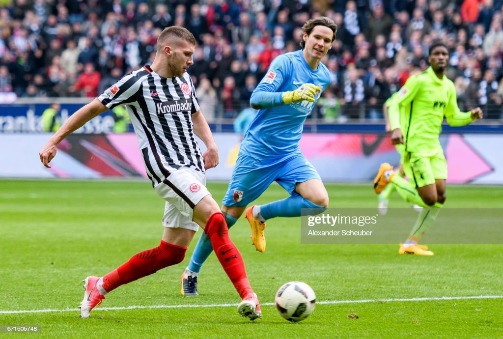 Ante Rebic of Frankfurt scores the third goal for his team during the Bundesliga match between Eintracht Frankfurt and FC Augsburg at Commerzbank-Arena on April 22, 2017 in Frankfurt am Main, Germany.
