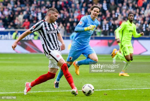Ante Rebic of Frankfurt scores the third goal for his team during the Bundesliga match between Eintracht Frankfurt and FC Augsburg at...