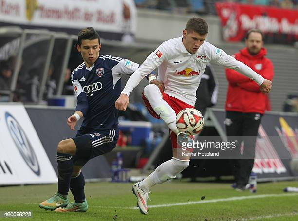 Ante Rebic of Leipzig challenges Alfredo Morales of Ingolstadt during the Second Bundesliga match between RasenBallsport Leipzig and FC Ingolstadt 04...