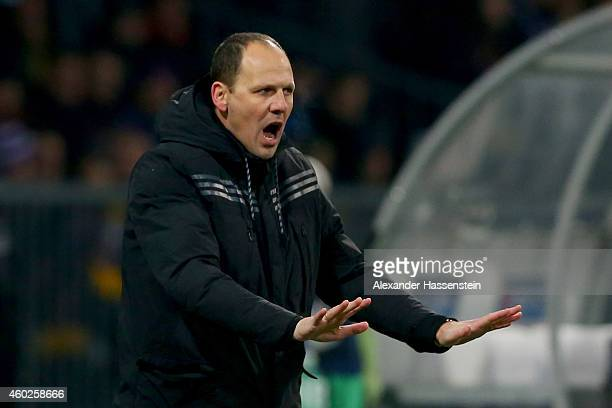 Ante Simundza head coach of Maribor reacts during the UEFA Group G Champions League match between NK Maribor and FC Schalke 04 at Ljudski vrt Stadium...