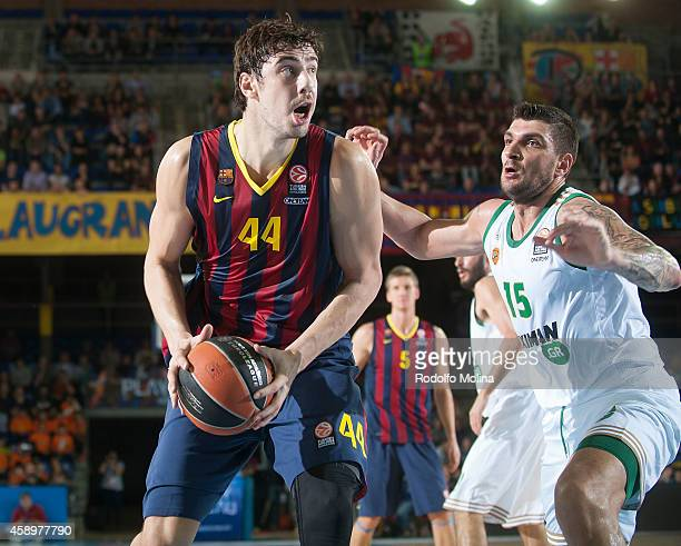 Ante Tomic #44 of FC Barcelona competes with Esteban Batista #15 of Panathinaikos Athens during the 20142015 Turkish Airlines Euroleague Basketball...
