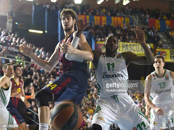 Ante Tomic #44 of FC Barcelona competes with Stephane Lasme #11 of Panathinaikos Athens during the 20132014 Turkish Airlines Euroleague Top 16 Date...