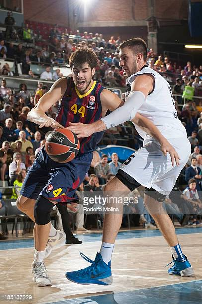 Ante Tomic #44 of FC Barcelona in action during the 20132014 Turkish Airlines Euroleague Regular Season date 1 game between FC Barcelona Regal and...