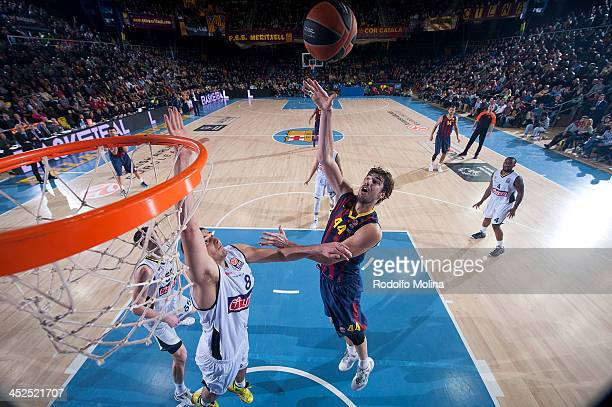 Ante Tomic, #44 of FC Barcelona in action during the 2013-2014 Turkish Airlines Euroleague Regular Season Date 7 game between FC Barcelona Regal v...