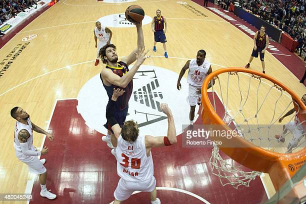 Ante Tomic, #44 of FC Barcelona in action during the 2013-2014 Turkish Airlines Euroleague Top 16 Date 13 game between EA7 Emporio Armani Milan vs FC...