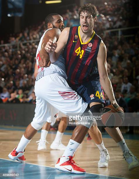 Ante Tomic #44 of FC Barcelona in action during the 20142015 Turkish Airlines Euroleague Basketball Regular Season Date 7 game between FC Barcelona v...