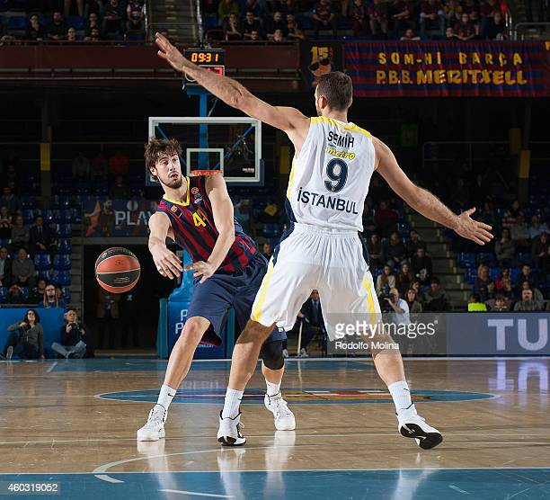 Ante Tomic #44 of FC Barcelona in action during the 20142015 Turkish Airlines Euroleague Basketball Regular Season Date 9 game between FC Barcelona v...