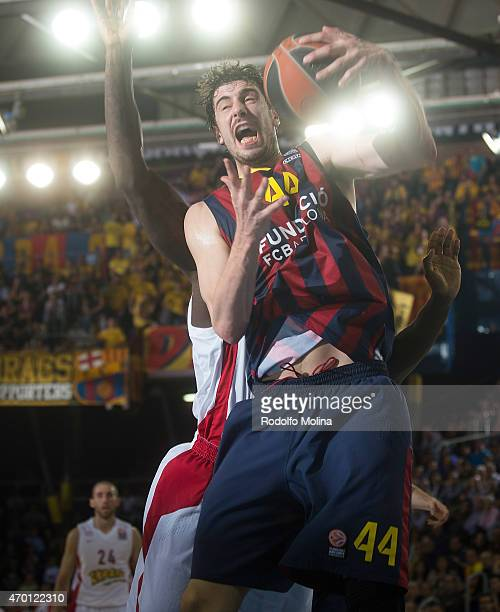 Ante Tomic #44 of FC Barcelona in action during the 20142015 Turkish Airlines Euroleague Basketball Play Off Game 2 between FC Barcelona v Olympiacos...