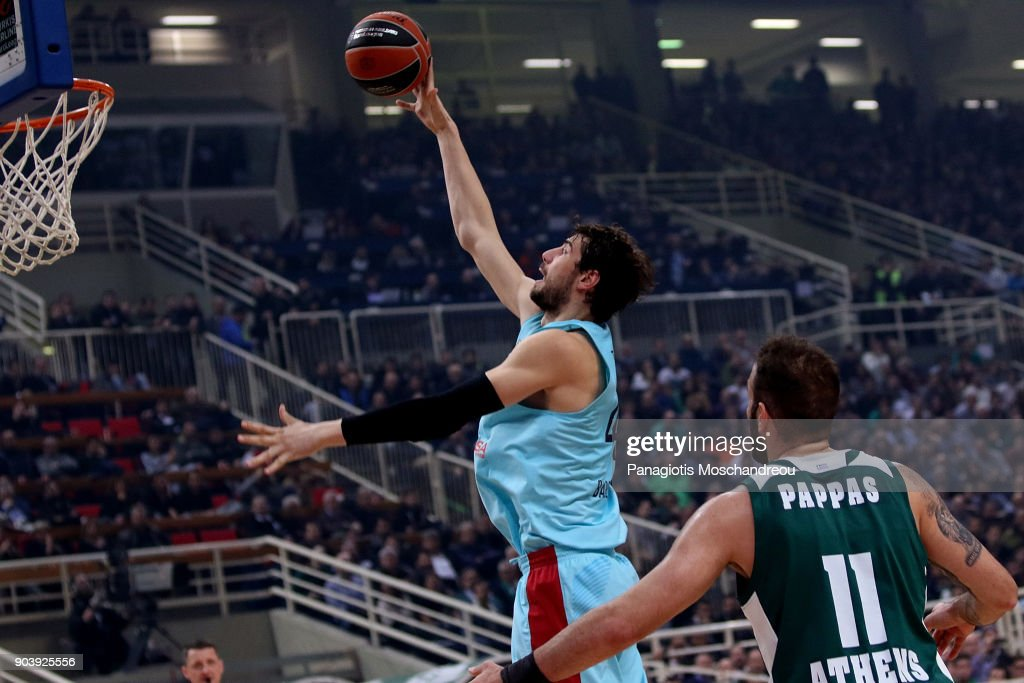 Ante Tomic, #44 of FC Barcelona Lassa in action during the 2017/2018 Turkish Airlines EuroLeague Regular Season Round 17 game between Panathinaikos Superfoods Athens and FC Barcelona Lassa at Olympic Sports Center Athens on January 11, 2018 in Athens, Greece.