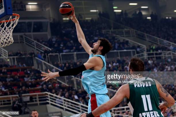 Ante Tomic #44 of FC Barcelona Lassa in action during the 2017/2018 Turkish Airlines EuroLeague Regular Season Round 17 game between Panathinaikos...