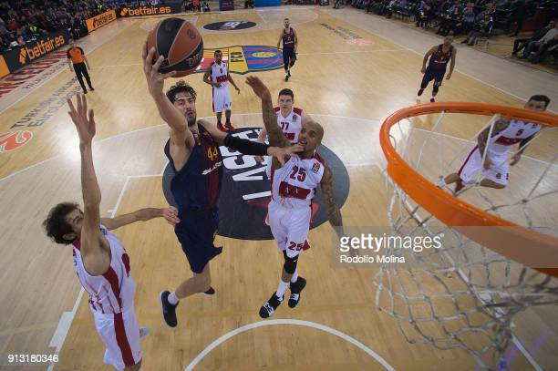 Ante Tomic #44 of FC Barcelona Lassa in action during the 2017/2018 Turkish Airlines EuroLeague Regular Season Round 21 game between FC Barcelona...