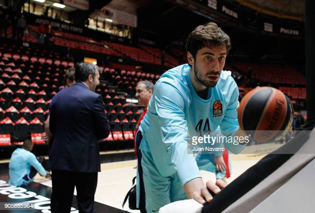 Ante Tomic #44 of FC Barcelona Lassa warms up before the 2017/2018 Turkish Airlines EuroLeague Regular Season Round 18 game between Valencia Basket...
