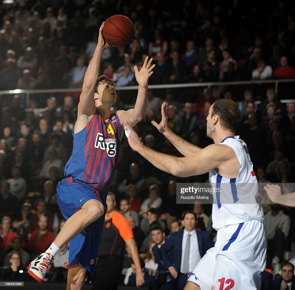 Ante Tomic, #44 of FC Barcelona Regal competes with Nenad Krstic, #12 of CSKA Moscow during the 2012-2013 Turkish Airlines Euroleague Regular Season Game Day 10 between FC Barcelona Regal v CSKA Moscow at Palau Blaugrana on December 13, 2012 in Barcelona, Spain.