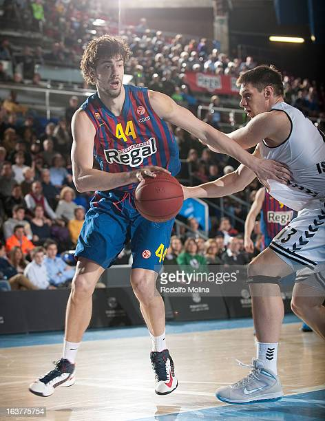 Ante Tomic #44 of FC Barcelona Regal in action during the 20122013 Turkish Airlines Euroleague Top 16 Date 11 between FC Barcelona Regal v Besiktas...