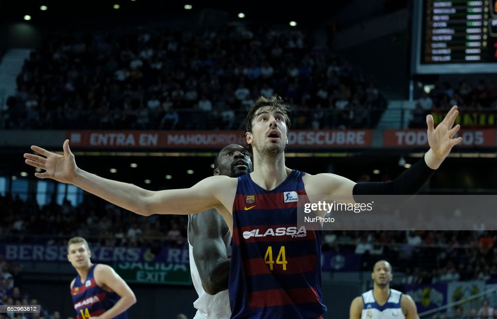 Ante Tomic of FC Barcelona during the Liga Endesa game between Real Madrid v FC Barcelona at Barclaycard Center on March 12, 2017 in Madrid, Spain.