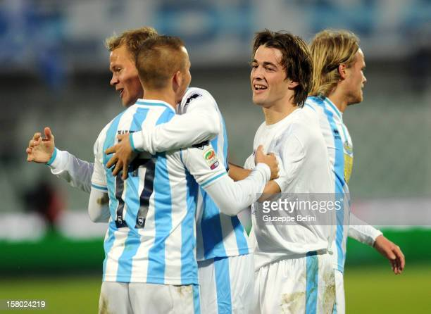 Ante Vukusic of Pescara celebrates after scoring the goal 2-0 during the Serie A match between Pescara and Genoa CFC at Adriatico Stadium on December...