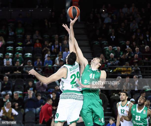 Ante Zizic #41 of Darussafaka Dogus Istanbul competes with Ioannis Bourousis #29 of Panathinaikos Superfoods Athens during the 2016/2017 Turkish...