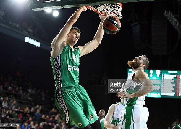 Ante Zizic #41 of Darussafaka Dogus Istanbul in action during the 2016/2017 Turkish Airlines EuroLeague Regular Season Round 18 game between...