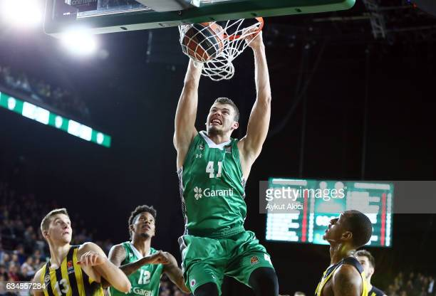 Ante Zizic #41 of Darussafaka Dogus Istanbul in action during the 2016/2017 Turkish Airlines EuroLeague Regular Season Round 22 game between...