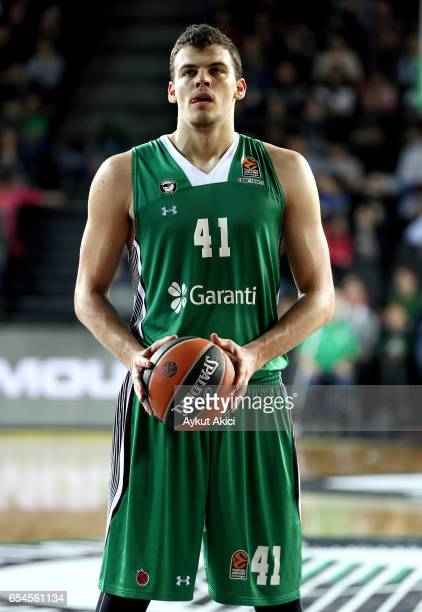 Ante Zizic #41 of Darussafaka Dogus Istanbul in action during the 2016/2017 Turkish Airlines EuroLeague Regular Season Round 26 game between...