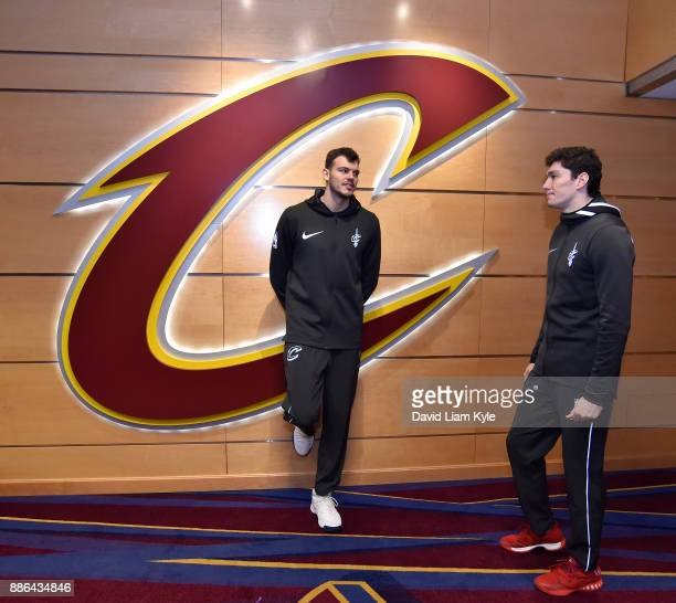 Ante Zizic and Cedi Osman of the Cleveland Cavaliers stand in the hallway before the game against the Memphis Grizzlies on December 2 2017 at Quicken...