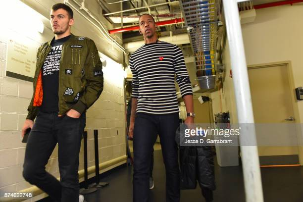 Ante Zizic and Channing Frye of the Cleveland Cavaliers arrive at Madison Square Garden before the game against the New York Knicks on November 13...