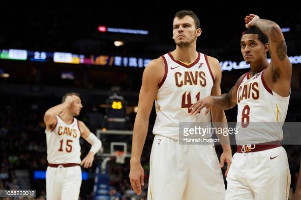 Ante Zizic and Jordan Clarkson of the Cleveland Cavaliers react during the game against the Minnesota Timberwolves on October 19 2018 at the Target...