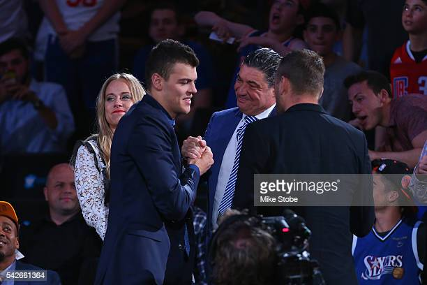 Ante Zizic celebrates after being drafted 23rd overall by the Boston Celtics in the first round of the 2016 NBA Draft at the Barclays Center on June...