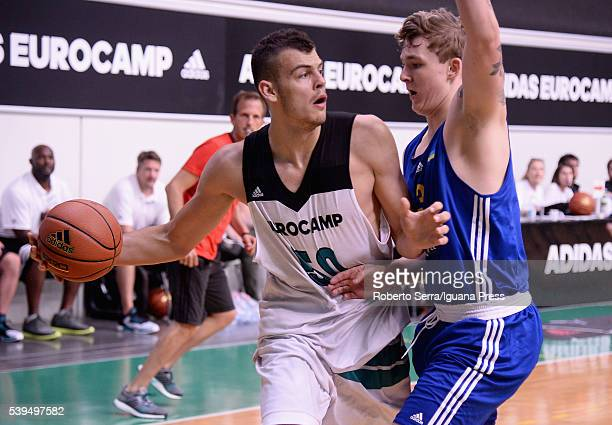 Ante Zizic in action during Adidas Eurocamp Day One at La Ghirada sports center on June 10 2016 in Treviso Italy