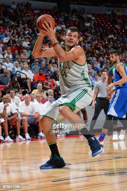 Ante Zizic of the Boston Celtics looks to drive to the basket during the 2017 NBA Las Vegas Summer League game against the Philadelphia 76ers on July...