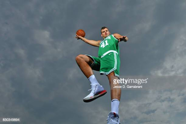 Ante Zizic of the Boston Celtics poses for a portrait during the 2017 NBA rookie photo shoot on August 11 2017 at the Madison Square Garden Training...