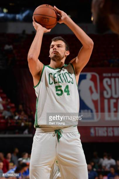 Ante Zizic of the Boston Celtics shoots the ball against the Philadelphia 76ers on July 11 2017 at the Thomas Mack Center in Las Vegas Nevada NOTE TO...