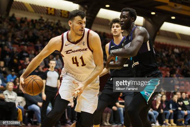 Ante Zizic of the Canton Charge handles the ball against the Greensboro Swarm on January 27 2018 at Canton Memorial Civic Center in Canton Ohio NOTE...