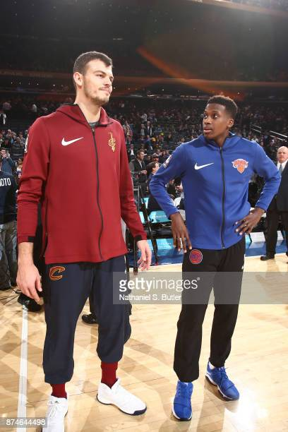 Ante Zizic of the Cleveland Cavaliers and Frank Ntilikina of the New York Knicks talk before the game on November 13 2017 at Madison Square Garden in...