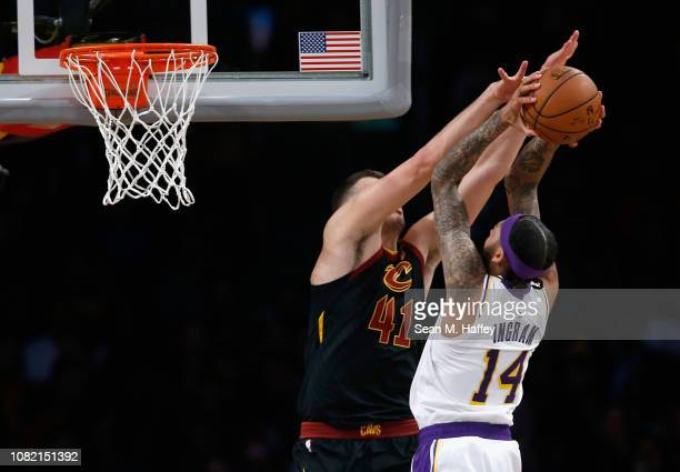 Ante Zizic of the Cleveland Cavaliers blocks a shot by Brandon Ingram of the Los Angeles Lakers during the second half of a game at Staples Center on...