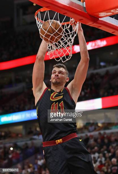Ante Zizic of the Cleveland Cavaliers dunks against the Chicago Bulls at the United Center on March 17 2018 in Chicago Illinois NOTE TO USER User...