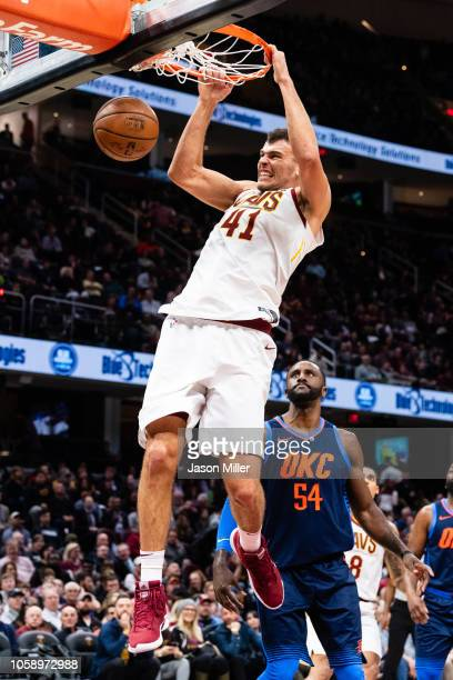 Ante Zizic of the Cleveland Cavaliers dunks during the second half against the Oklahoma City Thunder at Quicken Loans Arena on November 7 2018 in...