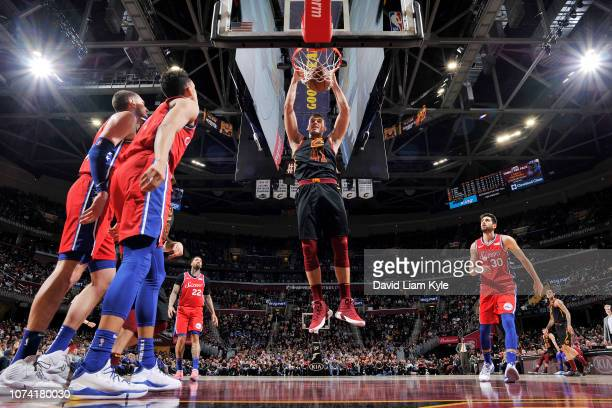 Ante Zizic of the Cleveland Cavaliers dunks the ball against the Philadelphia 76ers on December 16 2018 at Quicken Loans Arena in Cleveland Ohio NOTE...