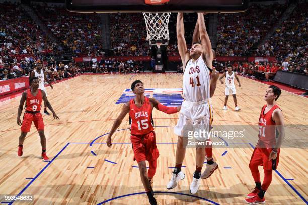 Ante Zizic of the Cleveland Cavaliers dunks the ball against the Chicago Bulls during the 2018 Las Vegas Summer League on July 7 2018 at the Thomas...