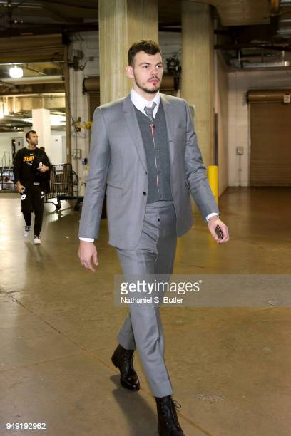 Ante Zizic of the Cleveland Cavaliers enters the arena before the game against the Indiana Pacers before Game Three of Round One of the 2018 NBA...