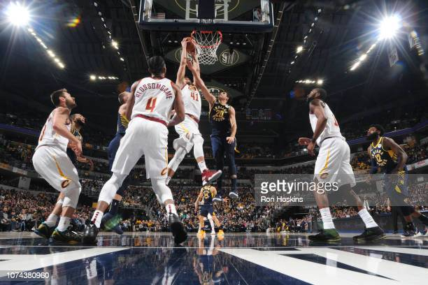 Ante Zizic of the Cleveland Cavaliers goes for a dunk against the Indiana Pacers on December 18 2018 at the Bankers Life Fieldhouse in Indianapolis...