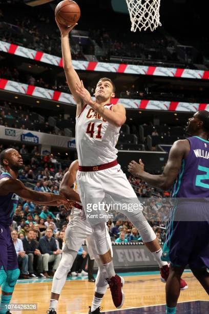 Ante Zizic of the Cleveland Cavaliers goes to the basket against the Charlotte Hornets on December 19 2018 at the Spectrum Center in Charlotte North...