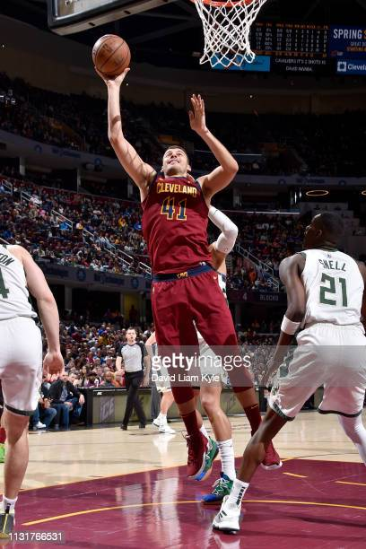 Ante Zizic of the Cleveland Cavaliers goes to the basket against the Milwaukee Bucks on March 20 2019 at Quicken Loans Arena in Cleveland Ohio NOTE...