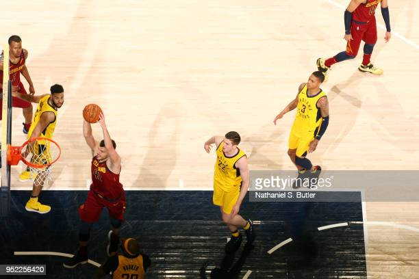 Ante Zizic of the Cleveland Cavaliers goes to the basket against the Indiana Pacers in Game Six of Round One of the 2018 NBA Playoffs on April 27...